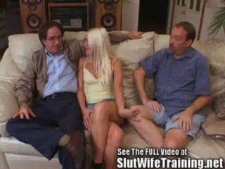 Blondie Wifey Cuckold Esposo Relojes Sexo