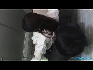 Oficina Dama Obtener Su Coño Peludo Lamido Chupar Chico En El Toilette