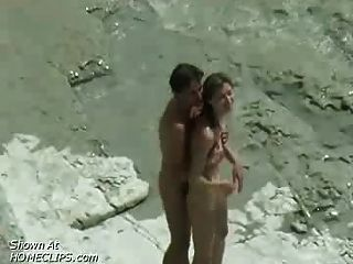 Pareja Fucking: Voyeur Playa Video
