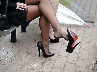 2 Lesbianas Putas Parada De Autobús 14cm Alto Talones Upskirt \u0026 Medias