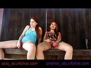 Andrea Cielo Y Asia Zo Parque Público Masturbación