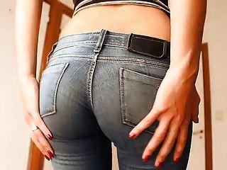 Culo Redondo Adolescente En Jeans Ultra Ajustados Y Tanga.¡caliente Como El Infierno!
