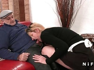 French Maid Hard Follada En 3some Con Papy