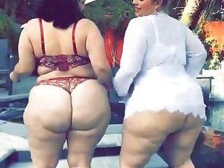 2 Grandes Y Gordos Bbw Blanco Culos Twerkin