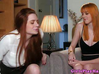 Lesbiana Jengibre Pussylicked Por Babe Americano